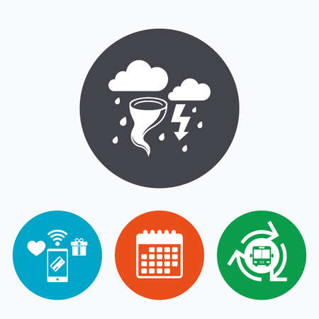 hurricane weather: Storm bad weather sign icon. Clouds with thunderstorm. Gale hurricane symbol. Destruction and disaster from wind. Insurance symbol. Mobile payments, calendar and wifi icons. Bus shuttle.