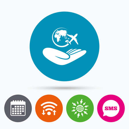 peace stamp: Wifi, Sms and calendar icons. World trip insurance sign. Hand holds planet symbol. Travel insurance. World peace. Go to web globe. Illustration