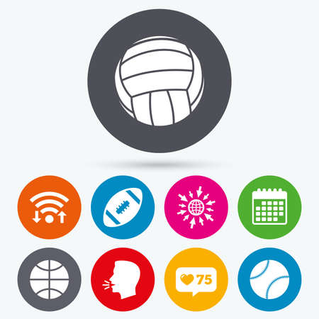 american downloads: Wifi, like counter and calendar icons. Sport balls icons. Volleyball, Basketball, Baseball and American football signs. Team sport games. Human talk, go to web.