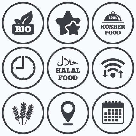 kosher: Clock, wifi and stars icons. Natural Bio food icons. Halal and 100% Kosher signs. Gluten free agricultural symbol. Calendar symbol. Illustration