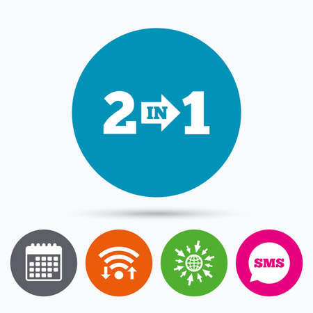 suite: Wifi, Sms and calendar icons. Two in one suite sign icon. 2 in 1 symbol with arrow. Go to web globe.