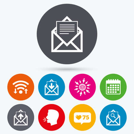 outbox: Wifi, like counter and calendar icons. Mail envelope icons. Find message document symbol. Post office letter signs. Inbox and outbox message icons. Human talk, go to web.