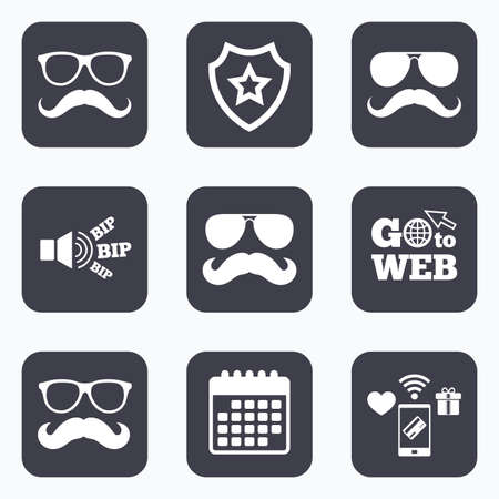 facial hair: Mobile payments, wifi and calendar icons. Mustache and Glasses icons. Hipster symbols. Facial hair signs. Go to web symbol.