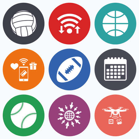 sport equipment: Wifi, mobile payments and drones icons. Sport balls icons. Volleyball, Basketball, Baseball and American football signs. Team sport games. Calendar symbol.