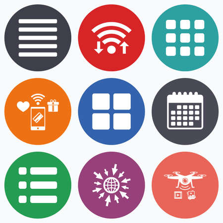 thumbnails: Wifi, mobile payments and drones icons. List menu icons. Content view options symbols. Thumbnails grid or Gallery view. Calendar symbol.