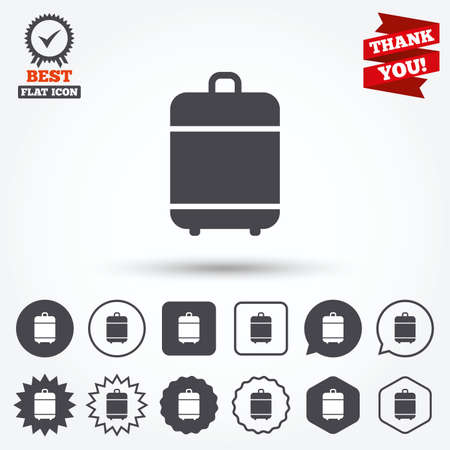 luggage bag: Travel luggage bag icon. Baggage symbol. Circle and square buttons. Star labels and award medal. Thank you ribbon. Illustration