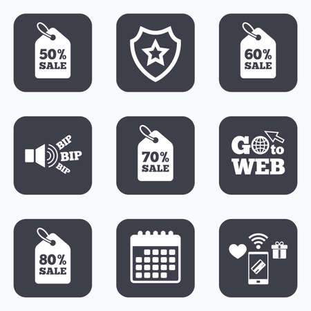 50 to 60: Mobile payments, wifi and calendar icons. Sale price tag icons. Discount special offer symbols. 50%, 60%, 70% and 80% percent sale signs. Go to web symbol.