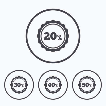 30 to 40: Sale discount icons. Special offer stamp price signs. 20, 30, 40 and 50 percent off reduction symbols. Icons in circles.