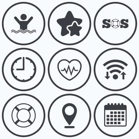 drowns: Clock, wifi and stars icons. SOS lifebuoy icon. Heartbeat cardiogram symbol. Swimming sign. Man drowns. Calendar symbol. Illustration