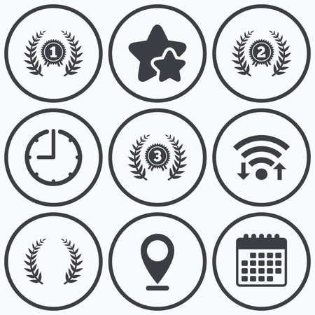 second prize: Clock, wifi and stars icons. Laurel wreath award icons. Prize for winner signs. First, second and third place medals symbols. Calendar symbol. Illustration