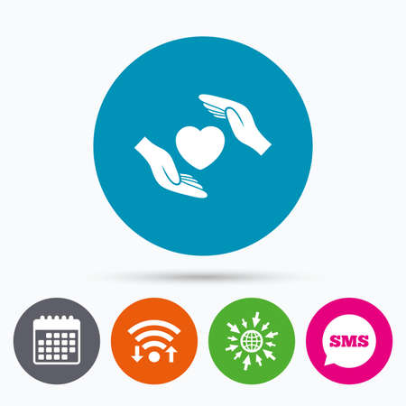 protect globe: Wifi, Sms and calendar icons. Life insurance sign icon. Hands protect cover heart symbol. Health insurance. Go to web globe.