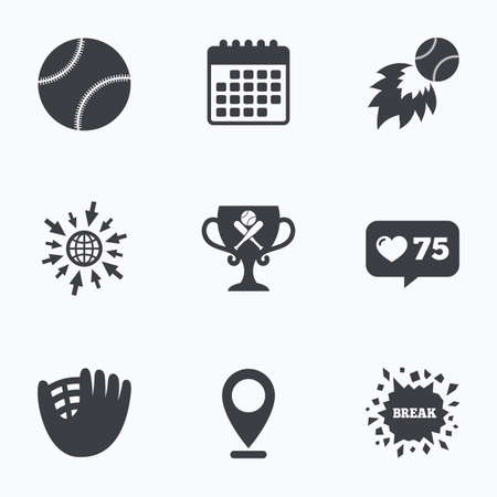crosswise: Calendar, like counter and go to web icons. Baseball sport icons. Ball with glove and two crosswise bats signs. Fireball with award cup symbol. Location pointer.