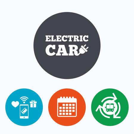 Elektrische auto teken pictogram. Elektrisch voertuigtransportsymbool. Mobiele betalingen, kalender en wifi-pictogrammen. Bus shuttle. Stock Illustratie