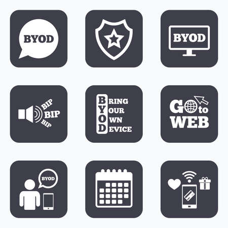 Mobile payments, wifi and calendar icons. BYOD icons. Human with notebook and smartphone signs. Speech bubble symbol. Go to web symbol. Illustration