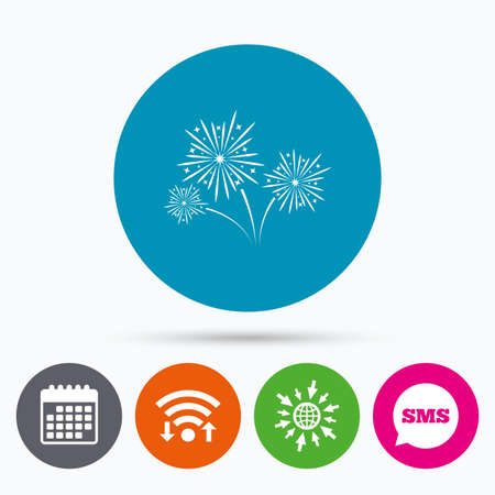 pyrotechnic: Wifi, Sms and calendar icons. Fireworks sign icon. Explosive pyrotechnic show symbol. Go to web globe.
