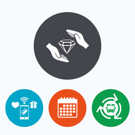 brilliants: Jewelry insurance sign icon. Hands protect cover diamonds symbol. Brilliants insurance. Mobile payments, calendar and wifi icons. Bus shuttle.