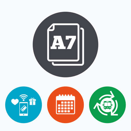 a7: Paper size A7 standard icon. File document symbol. Mobile payments, calendar and wifi icons. Bus shuttle.