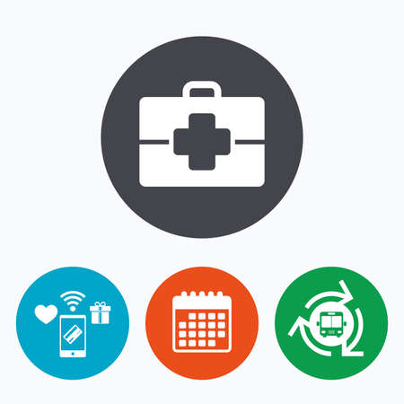 medical case: Medical case sign icon. Doctor symbol. Mobile payments, calendar and wifi icons. Bus shuttle.