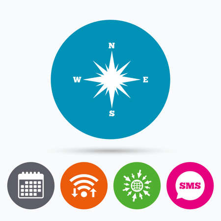 windrose: Wifi, Sms and calendar icons. Compass sign icon. Windrose navigation symbol. Go to web globe. Illustration
