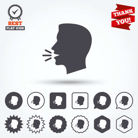 loud noise: Talk or speak icon. Loud noise symbol. Human talking sign. Circle and square buttons. Star labels and award medal. Thank you ribbon. Illustration