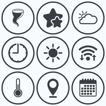 thermometer: Clock, wifi and stars icons. Weather icons. Cloud and sun signs. Storm symbol. Thermometer temperature sign. Calendar symbol.