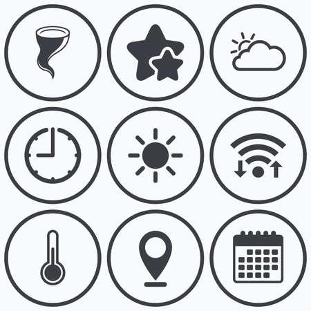 thermometer: Reloj, WiFi y estrellas iconos. Iconos del tiempo. Nubes y sol signos. símbolo Storm. signo de la temperatura del termómetro. símbolo de calendario. Vectores