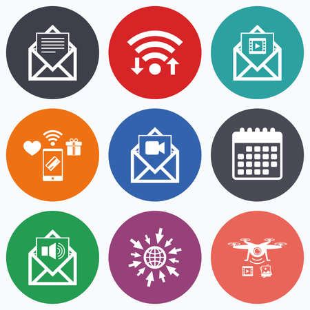 voice mail: Wifi, mobile payments and drones icons. Mail envelope icons. Message document symbols. Video and Audio voice message signs. Calendar symbol. Illustration