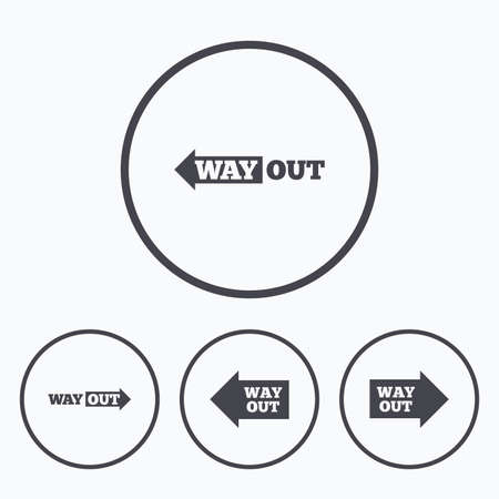 way out: Way out icons. Left and right arrows symbols. Direction signs in the subway. Icons in circles.