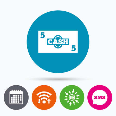 sms payment: Wifi, Sms and calendar icons. Cash sign icon. Money symbol. Coin and paper money. Go to web globe.