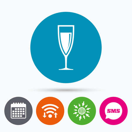 champagne celebration: Wifi, Sms and calendar icons. Glass of champagne sign icon. Sparkling wine. Celebration or banquet alcohol drink symbol. Go to web globe.
