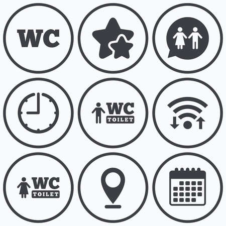 gents: Clock, wifi and stars icons. WC Toilet icons. Gents and ladies room signs. Man and woman speech bubble symbol. Calendar symbol.