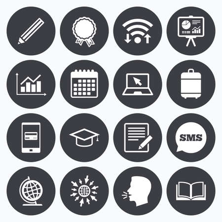 study icon: Wifi, calendar and mobile payments. Education and study icon. Presentation signs. Report, analysis and award medal symbols. Sms speech bubble, go to web symbols.
