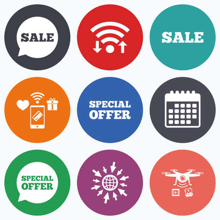 sale icons: Wifi, mobile payments and drones icons. Sale icons. Special offer speech bubbles symbols. Shopping signs. Calendar symbol.
