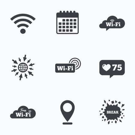 break free: Calendar, like counter and go to web icons. Free Wifi Wireless Network cloud speech bubble icons. Wifi zone sign symbols. Location pointer.