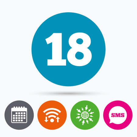18 years old: Wifi, Sms and calendar icons. 18 years old sign. Adults content icon. Go to web globe. Illustration