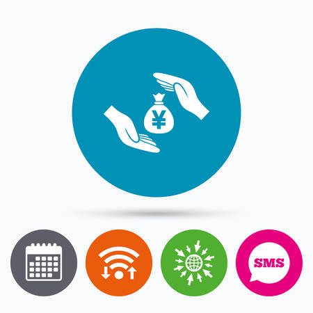 protect globe: Wifi, Sms and calendar icons. Protection money bag sign icon. Hands protect cash in Yen symbol. Money or savings insurance. Go to web globe.
