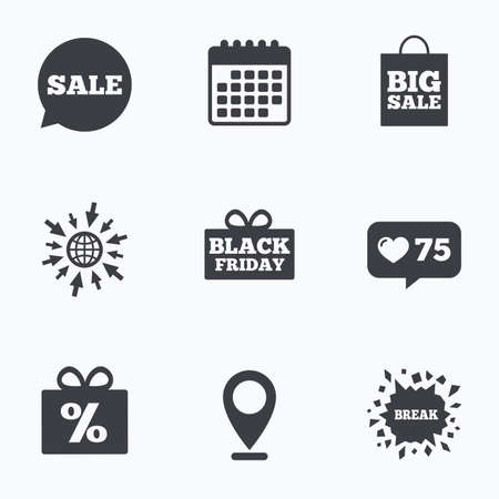 big break: Calendar, like counter and go to web icons. Sale speech bubble icon. Black friday gift box symbol. Big sale shopping bag. Discount percent sign. Location pointer.