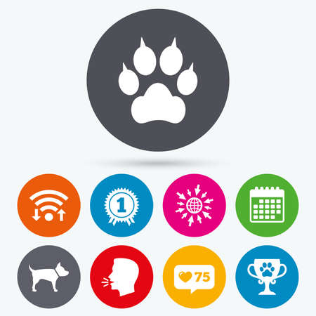 clutches: Wifi, like counter and calendar icons. Pets icons. Cat paw with clutches sign. Winner cup and medal symbol. Dog silhouette. Human talk, go to web. Illustration