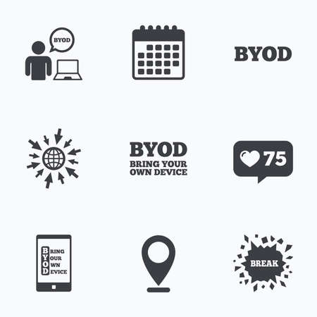 Calendar, like counter and go to web icons. BYOD icons. Human with notebook and smartphone signs. Speech bubble symbol. Location pointer. Illustration