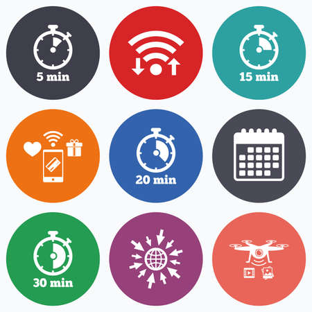 15 20: Wifi, mobile payments and drones icons. Timer icons. 5, 15, 20 and 30 minutes stopwatch symbols. Calendar symbol.