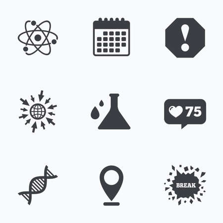 bacteria in heart: Calendar, like counter and go to web icons. Attention and DNA icons. Chemistry flask sign. Atom symbol. Location pointer. Illustration