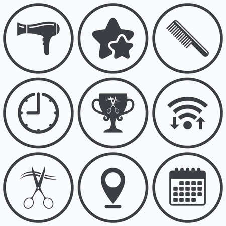 blow drying: Clock, wifi and stars icons. Hairdresser icons. Scissors cut hair symbol. Comb hair with hairdryer symbol. Barbershop winner award cup. Calendar symbol.