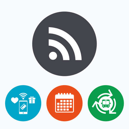 rss feed: RSS sign icon. RSS feed symbol. Mobile payments, calendar and wifi icons. Bus shuttle.