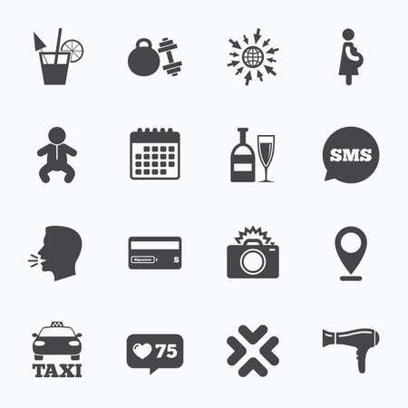 counter service: Calendar, go to web and like counter. Hotel, apartment service icons. Fitness gym. Alcohol cocktail, taxi and hairdryer symbols. Sms speech bubble, talk symbols. Illustration