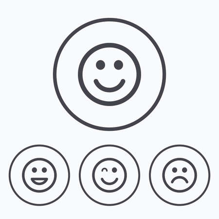 dismal: Smile icons. Happy, sad and wink faces symbol. Laughing lol smiley signs. Icons in circles. Illustration