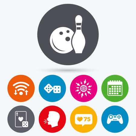 gambling counter: Wifi, like counter and calendar icons. Bowling and Casino icons. Video game joystick and playing card with dice symbols. Entertainment signs. Human talk, go to web. Illustration