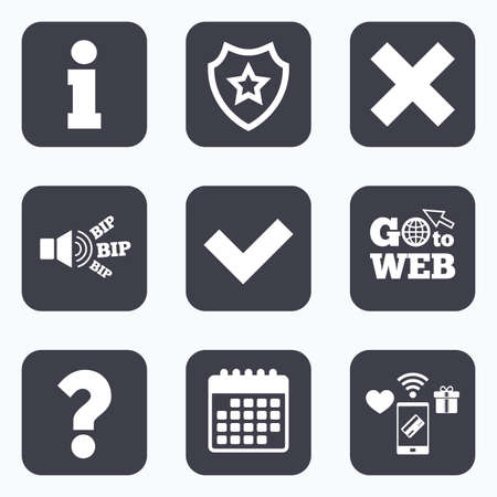 inform information: Mobile payments, wifi and calendar icons. Information icons. Delete and question FAQ mark signs. Approved check mark symbol. Go to web symbol.