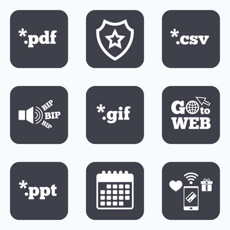 Mobile payments, wifi and calendar icons. Document icons. File extensions symbols. PDF, GIF, CSV and PPT presentation signs. Go to web symbol. Ilustrace