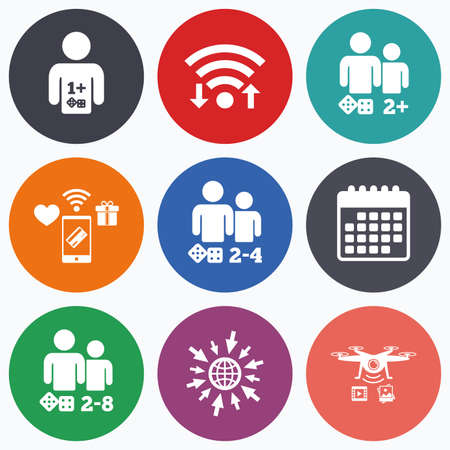 gamer: Wifi, mobile payments and drones icons. Gamer icons. Board games players sign symbols. Calendar symbol. Illustration