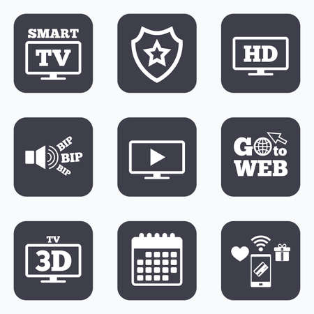 3d mode: Mobile payments, wifi and calendar icons. Smart TV mode icon. Widescreen symbol. High-definition resolution. 3D Television sign. Go to web symbol.